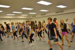 Team Broadway students learn choreography.