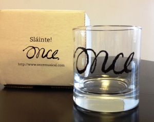 Enter our Friday Giveaway to obtain this lovely ONCE glass in honor of the musical coming to Blumenthal September 30.