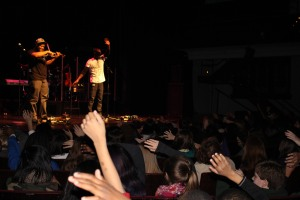 Black Violin plays in McGlohon Theater for hundreds of local students.