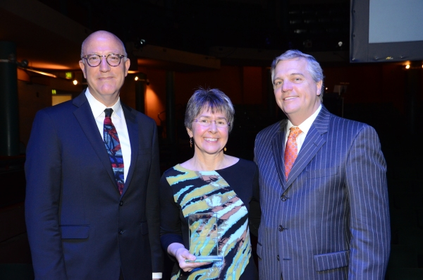 Mary Nell McPherson poses with Blumenthal President Tom Gabbard and Board of Trustees Chair Rick Puckett.