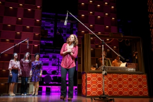 Jessie Mueller as Carole King and cast in Beautiful - The Carole King Musical. Original Broadway Cast. (c) Joan Marcus