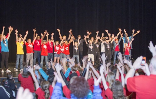 Broadway Junior participants perform on Knight Theater stage.