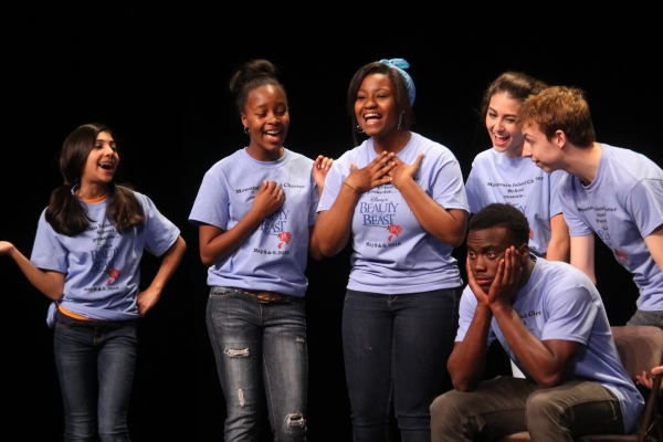 Students from Mountain Island Charter School perform a song from Beauty and the Beast. Photo by Daniel Coston.