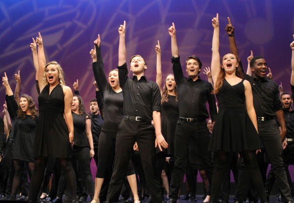 Students perform opening number on Belk Theater stage on May 17.