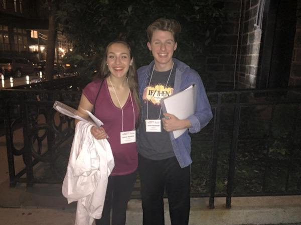 Lauren Hunkele and Justin Norwood in New York City, where they will compete for the titles of Best Actress and Best Actor at tonight's Jimmy Awards Ceremony.