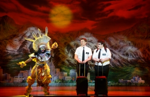 Monica L. Patton, David Larsen and Cody Jamison Strand in The Book of Mormon National Tour. Photo by Joan Marcus.