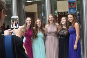 Students are all smiles and dressed to the nines for the 2016 Blumey Awards Ceremony at Belk Theater May 22.